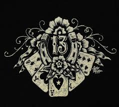 Tattoos Casino Designs Lucky 13 Thirteen Lucky Hand Casino Poker T Shirt Tee