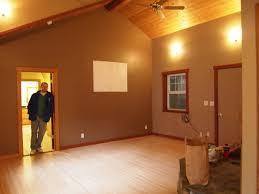 Gray Blue Walls Natural Wood Trim Living Room Artistic Color Decor