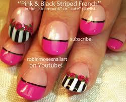 Pink Black and White Nail art, Pink Roses Nail Art, Pink Rose ...