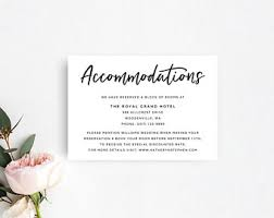 Wedding Accommodation Template Printable Accommodation Cards