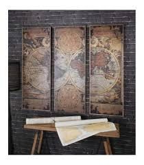 stunning vintage world map triptych panel wall art in a rustic wooden frame gallerywooden frame123cm on rustic wood panel wall art with stunning vintage world map triptych panel wall art in a rustic