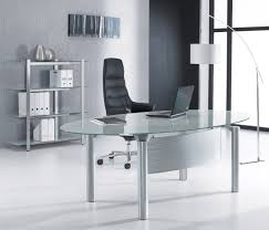 Glass desk for office Black Oval Glass Computer Desk Plant Jotter Oval Glass Computer Desk New Furniture