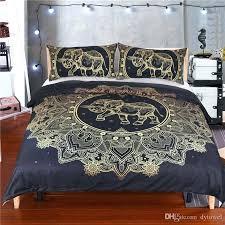 bohemian duvet elephant bedding set mandala comforter bed set bohemian duvet cover set golden flower black