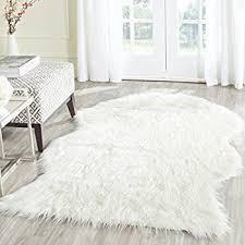 com safavieh faux silky sheepskin fss117a ivory area pertaining to white fur rug designs