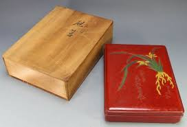 solid wood paint box solid wood and lacquer orchid carving japan mid