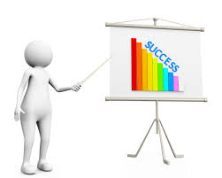 3d Man Showing Graph Bar With Success On Flip Chart Stock