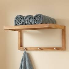 Bathroom Towel Teak Towel Shelf With Hooks Bathroom