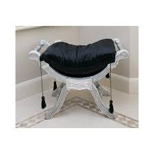 Shabby Chic Bedroom Chairs Uk French Silver Black Velvet Window Seat Foot Stool Bench Ottoman