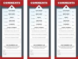 Restaurant Survey Cards Restaurant Customer Comment Card Template