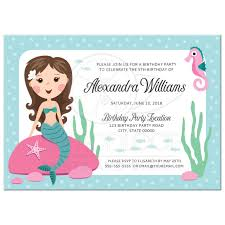 Mermaid Birthday Party Invitation For Kids With Cute Girl Sitting On A Rock And A Seahorse