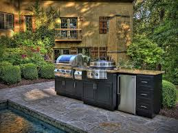 Outdoor Kitchen Furniture Simple Outdoor Kitchen Ideas Wood Grained Powder Coated Stainless