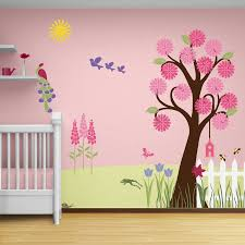 decoration ideas stunning baby nursery room using pink wall murals flower tree erfly including white wood cribs and light valance divine home decoratio
