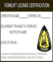 Forklift Operator Card Template Ozbox Org