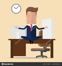 meditation in office. Businessman Meditation In Office. Yoga At Job. Young Man Relaxing Lotus Position On Office