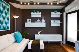 chocolate brown walls and a carpet aqua blue accessories