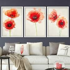 set of 3 fl framed prints red poppy