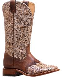zoomed image boulet women s western tooled saddle vamp cowgirl boots square toe natural hi
