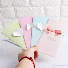 Creative Love Birthday New Year Small Greeting Card Bow Blessing Thank You Cards Message Bless Festival Card Flowers With Gift Card 0332 Online