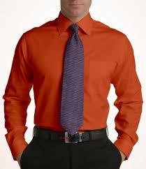 Dark Orange Mens Dress Shirt