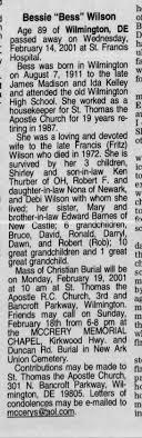 "Obituary Bessie ""Bess"" Wilson Burried at Newark Union Cemetery -  Newspapers.com"