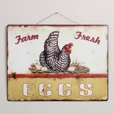 Decorative Chickens For Kitchen Metal Fresh Eggs Sign Metals Signs And World Market