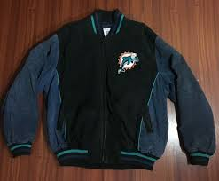 miami dolphins nfl leather jacket g lll apparel black logo zipped pocket size l