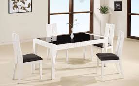 dining room incredible decoration using rectangular white lacquer finish modern 5pc dinette set w black gl top