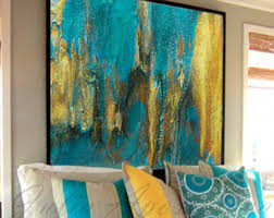 >turquoise gold art etsy ready to hang emerald and gold abstract painting fine art print 45x45 inch turquoise wall decor watercolor large wall art modern art