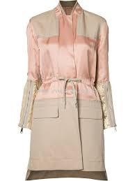 women clothing panelled trench coat 3yf710 salmon pink coats