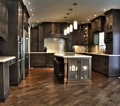 dark kitchen cabinet ideas. house ideas floors- wow i love this kitchen! the floor is laid on an angle and lighter than cabinets. could use iridescent white tiles for dark kitchen cabinet s