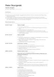 Example Teaching Resumes English Teachersume Template Example Samples Writing Guide