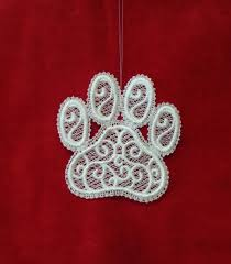 Free Standing Lace Easter Designs Embroidered Free Standing Lace Paw Print Christmas Ornament