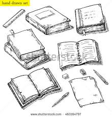 vector linear ilration of the books set hand drawn sketch of the notebook pen