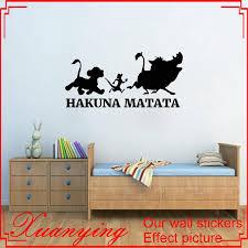 hakuna matata wall sticker lion king vinyl decal sticker cartoons wall art kids room decor housewares bedroom decor wall stickers decoration wall stickers