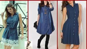 Jeans Dress Designs Jeans Short Frocks Jeans Shirt Women Stylish Short Jeans