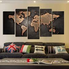 canvas wall pictures decor canvas wall art world map wall decor 5 piece large map canvas