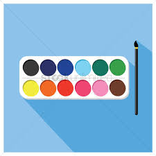 water color palette and brush vector graphic