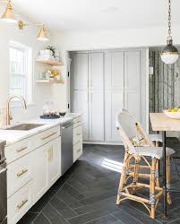 white grey brass kitchen with herringbone tile floor flooring ms international slate home depot