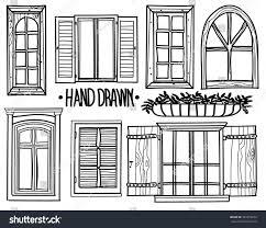 vintage window drawing. window. a set of drawings by hand. shuttered windows, open modern vintage window drawing