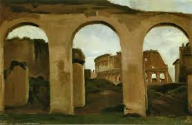 the colosseum seen through the arcades of the basilica of constantine artist camille corot completion date 1825 style realism genre cityscape
