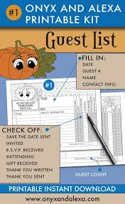 Printable Contact List Stunning Printable Guest List Part Of The Printable Thanksgiving Kit