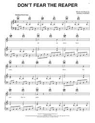 don t fear the reaper sheet music download dont fear the reaper sheet music by blue oyster cult