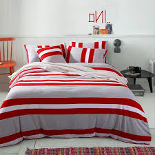 red white and gray rugby stripe print simply modern chic full queen size bedding sets