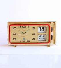 vintage alarm clock retro calendar clock mechanical flip date clock new old stock diamond shanghai wind