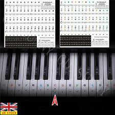 61 Key Keyboard Note Chart Piano Stickers Keyboard Music Note Chart Removable Decal 49