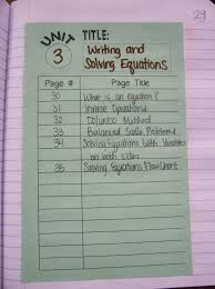 algebra 1 unit 3 writing and solving equations table of contents