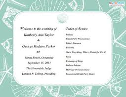 wedding reception program templates free download programs for beach weddings