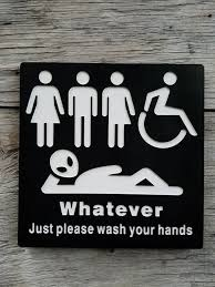 Handicap Bathroom Signs Gorgeous All Gender Restroom Sign Whatever Just Wash Your Hands Alien Etsy