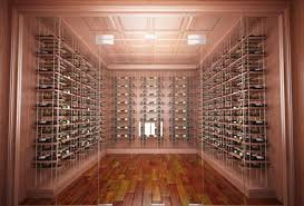 Modern Wine Cellar Cable Racking Series with Allheart Redwood