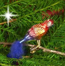 Christbaumschmuck Christbaumkugel Glas Vogel Papagei Federn